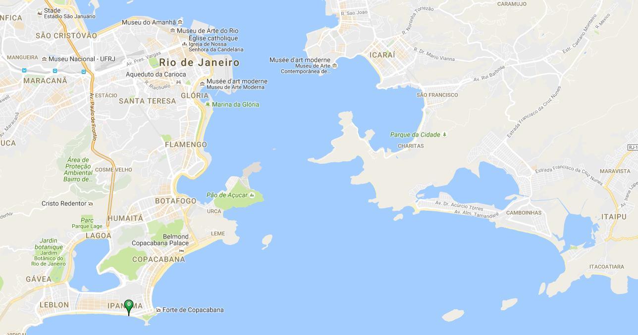 Beach Ipanema map Map of beach Ipanema Brsil