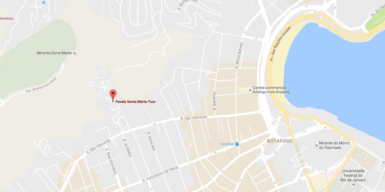 Favela Santa Marta map Map of favela Santa Marta Brsil