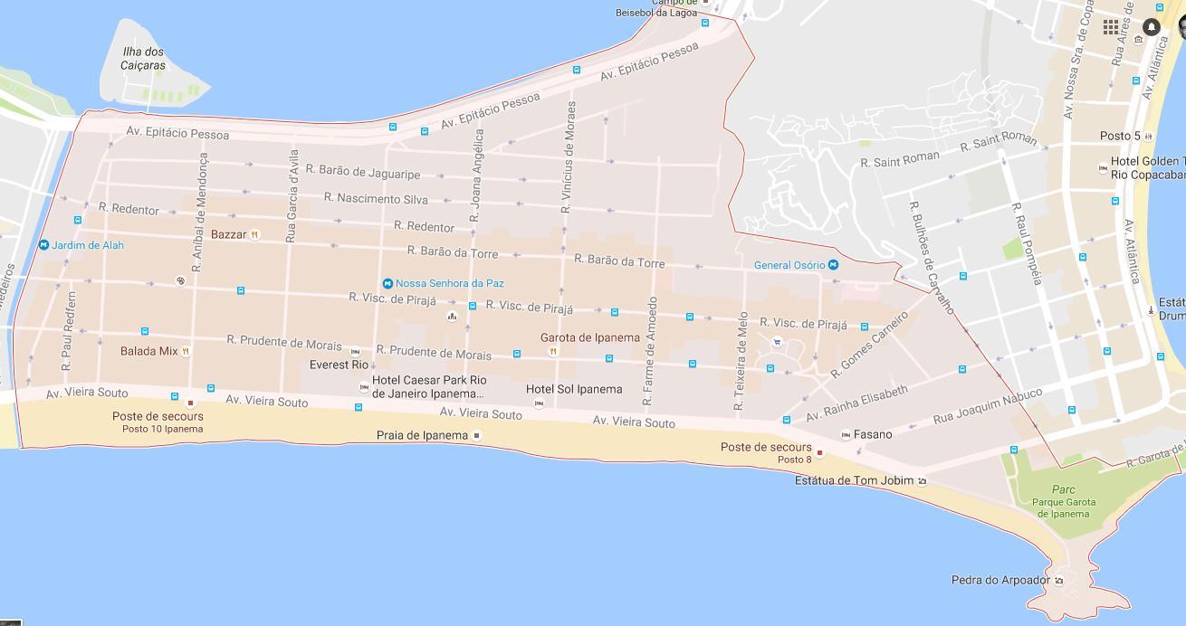 Ipanema map Map of Ipanema Brsil