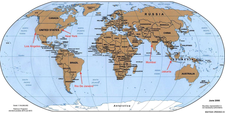 Rio de Janeiro in the world map Map of Rio de Janeiro in the world