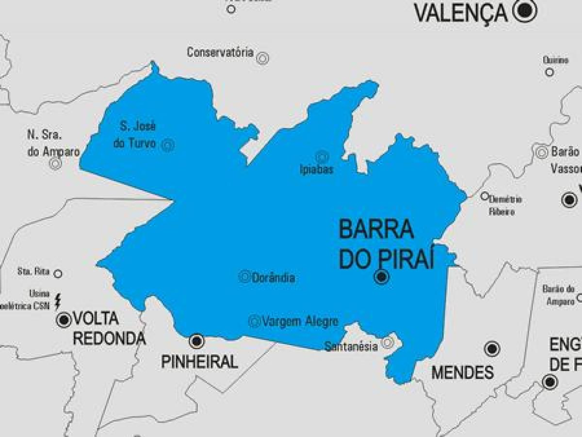 Map of Barra do Piraí municipality
