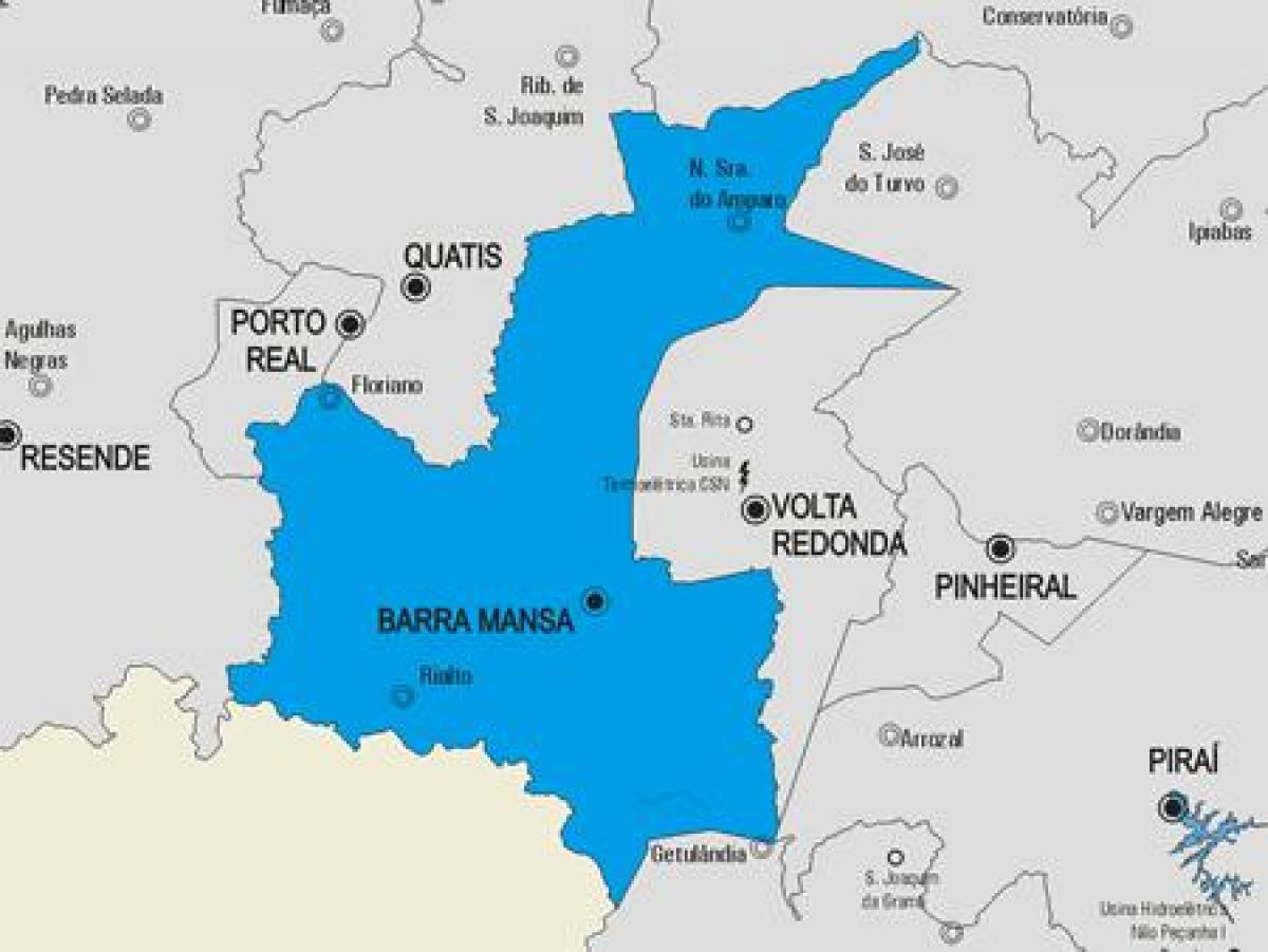 Map of Barra Mansa municipality