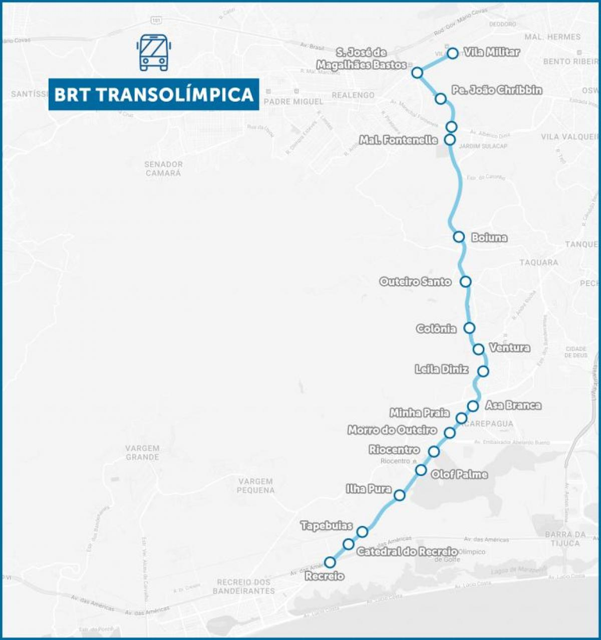 Map of BRT TransOlimpica
