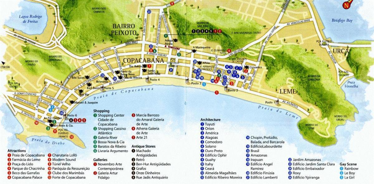 Copacabana beach map Map of Copacabana beach Brsil