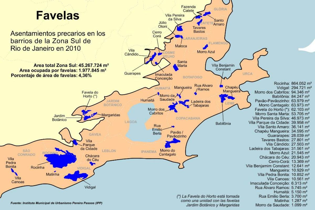 Favelas Southern zone of Rio de Janeiro map - Map of favelas ...