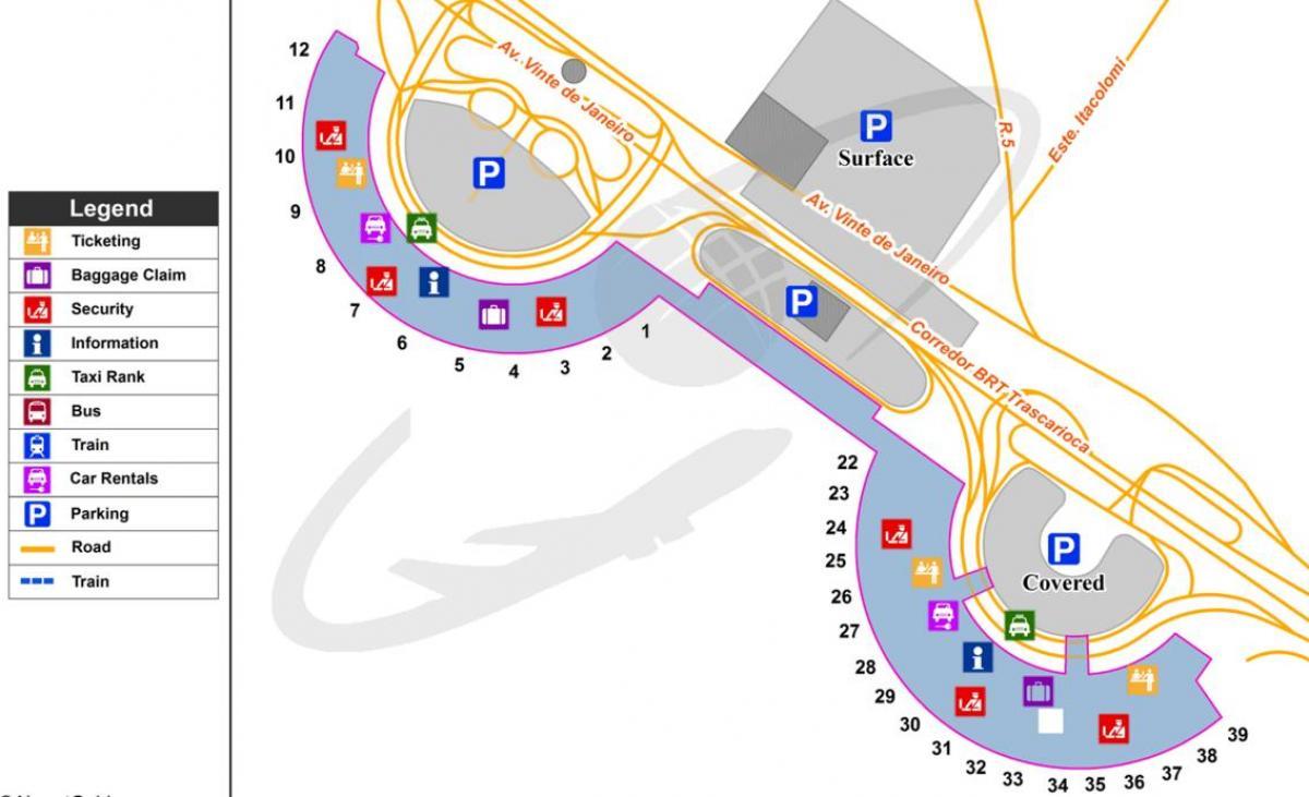 International airport of Rio de Janeiro map Map of International
