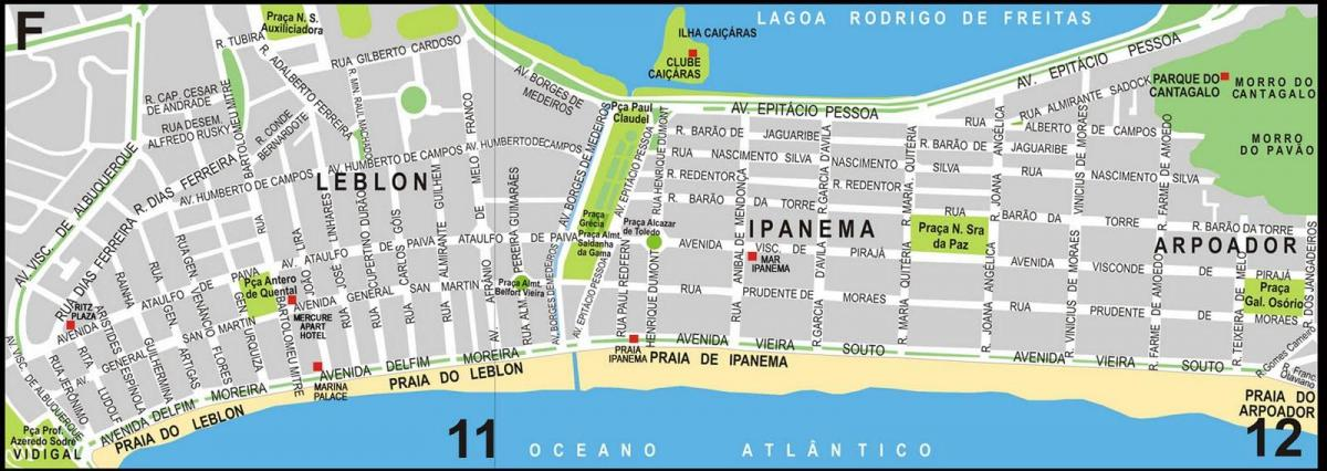 Map of Ipanema beach