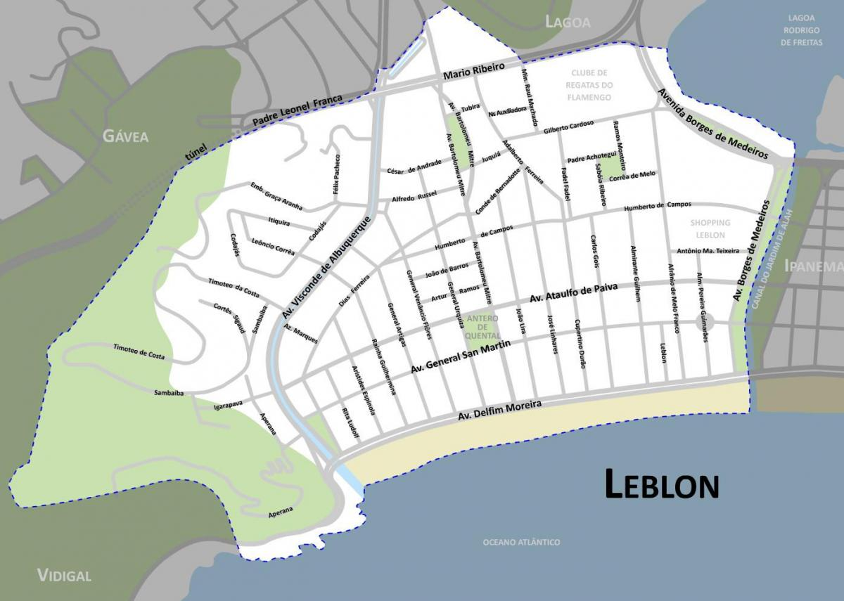 Map of Leblon beach