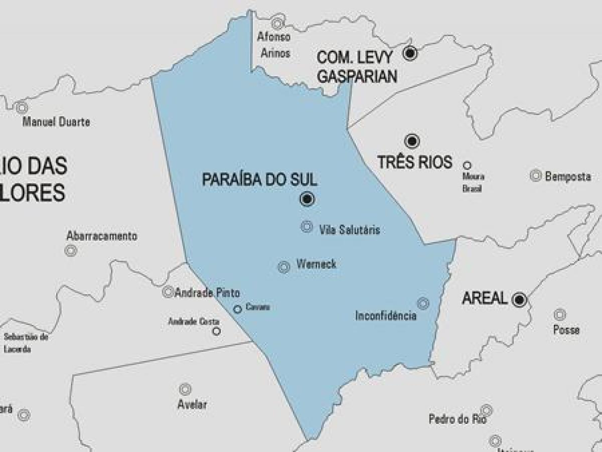 Map of Paraíba do Sul municipality