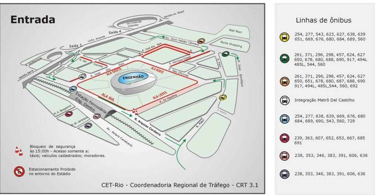 Map of stadium Engenhão transports