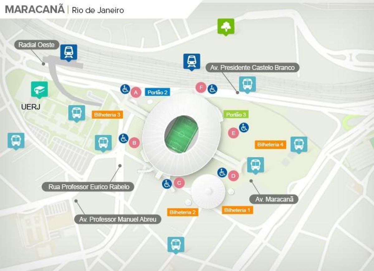 Map of stadium Maracanã accès