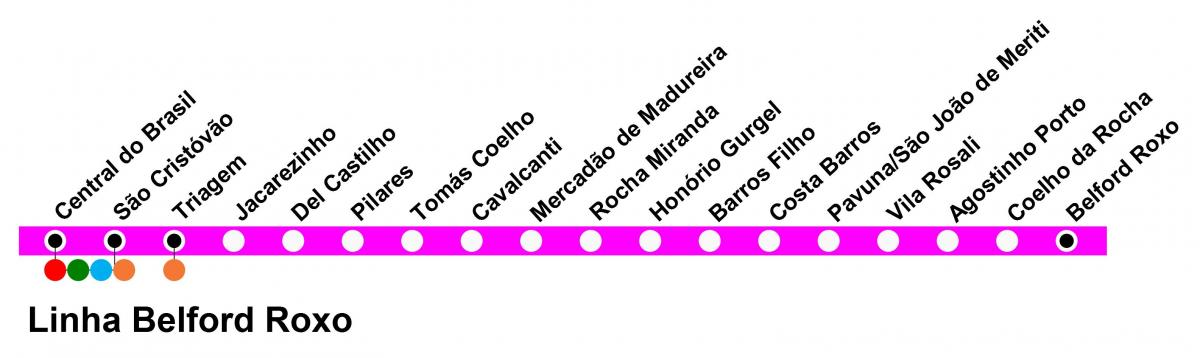 Map of SuperVia - Line Belford Roxo