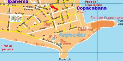Map of Arpoador beach