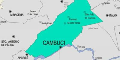 Map of Cambuci municipality